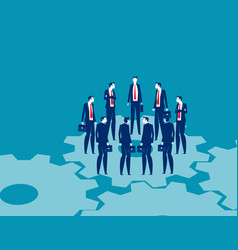 business people team circle on gears team meeting vector image