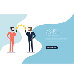 businessman transfer money with mobile phone vector image