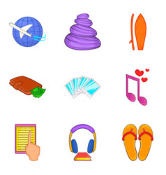 Calm icons set cartoon style vector