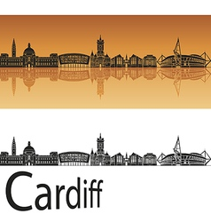 Cardiff skyline in orange background vector