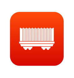 Cargo wagon icon digital red vector