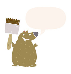 Cartoon bear and paint brush and speech bubble in vector