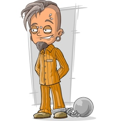 Cartoon piercing prisoner in orange vector image