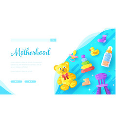 Childcare products online store landing page vector