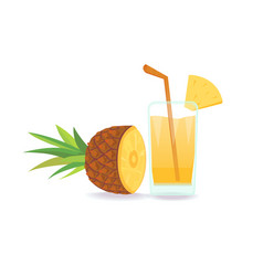 composition of pineapple on white background flat vector image