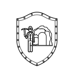 contour shield with miner with pickaxe vector image