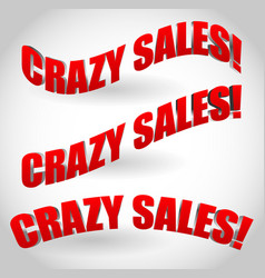 crazy sales text banners vector image
