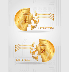 cryptocurrency coins design vector image