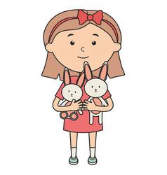 Cute little girl with rabbit stuffed vector