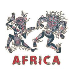 Dancing africans aborigines in masks vector