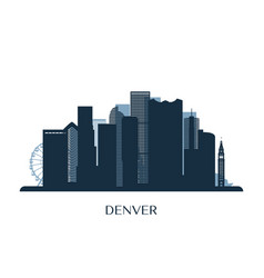 denver skyline monochrome silhouette vector image