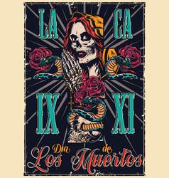 dia de los muertos vintage poster vector image