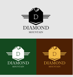 Diamond mountain logo template vector