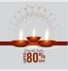 Diwali festival sale background with three diya vector