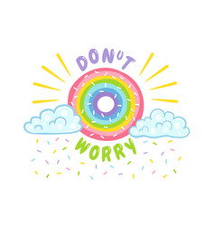 donut like rainbow with clouds vector image