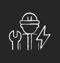 Electrician chalk white icon on dark background vector
