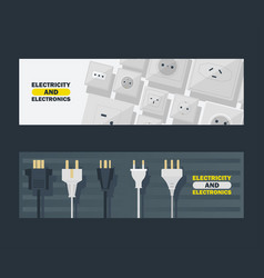 Electricity and electronics set banners vector