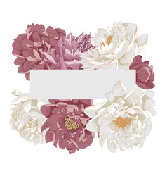 Elegant frame with peony flowers vector
