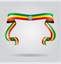 ethiopian flag wavy ribbon background vector image
