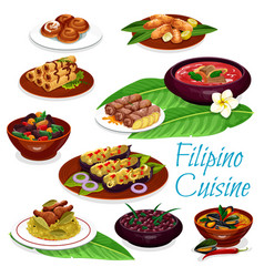 filipino dishes with meat seafood fruit pastry vector image