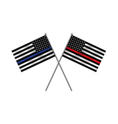 First responder support flags vector