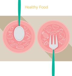 Food linear icons set on dish with spoon and fork vector