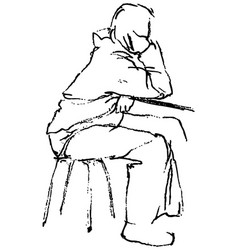 freehand drawing person sitting at table vector image