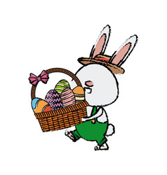 Funny easter rabbit with basket egg image vector