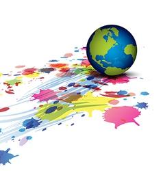 globe and ink splatter background vector image