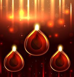 Glowing diwali diya on a background vector