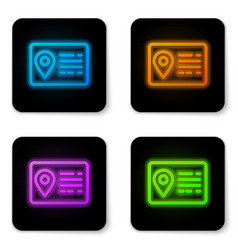 Glowing neon address book line icon isolated on vector