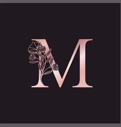 Gold rose flower letter m luxury logo elegant vector