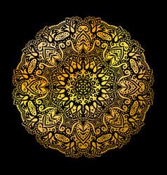 Golden mandala circle pattern vector