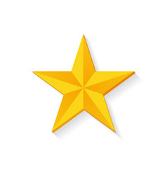 Golden star 3d design isolated vector
