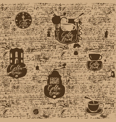 grunge seamless background on coffee theme vector image vector image