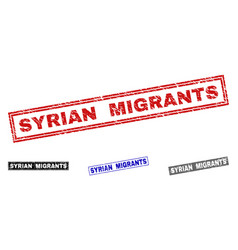 Grunge syrian migrants textured rectangle stamp vector