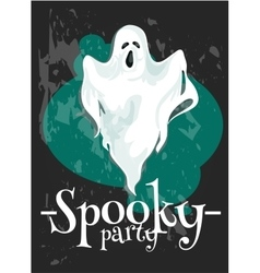 Halloween Party poster with spooky ghost vector image