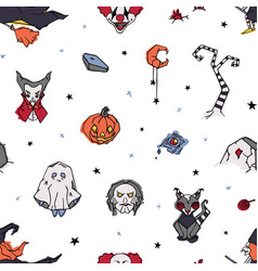 halloween seamless pattern with creepy and spooky vector image