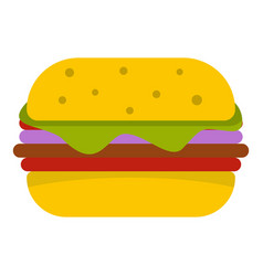 Hamburger with cheese and meat patty icon isolated vector