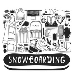 Hand drawn fashion snowboarding thing vector