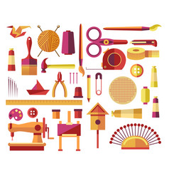 handmade creative diy projects icons for sewing vector image