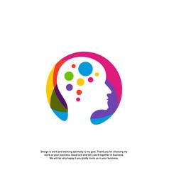 Head tech logo concept brain robotic logo vector