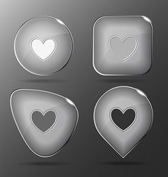 Heart Glass buttons vector