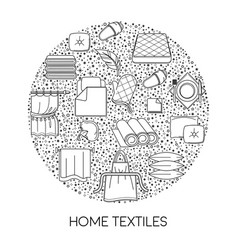 home textile shop isolated outline icon cotton vector image