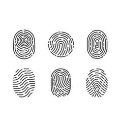 identification fingerprints sketches set vector image