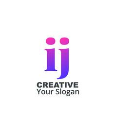 Initial letter ij lowercase design logo template vector