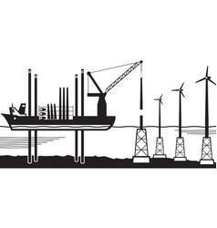 Installation vessel build wind farm in sea vector