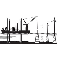 installation vessel build wind farm in the sea vector image