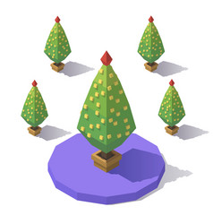 isometric low poly tree vector image