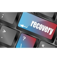 key with recovery text on laptop keyboard button vector image